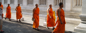 Monks seeking alms in Chang Mai